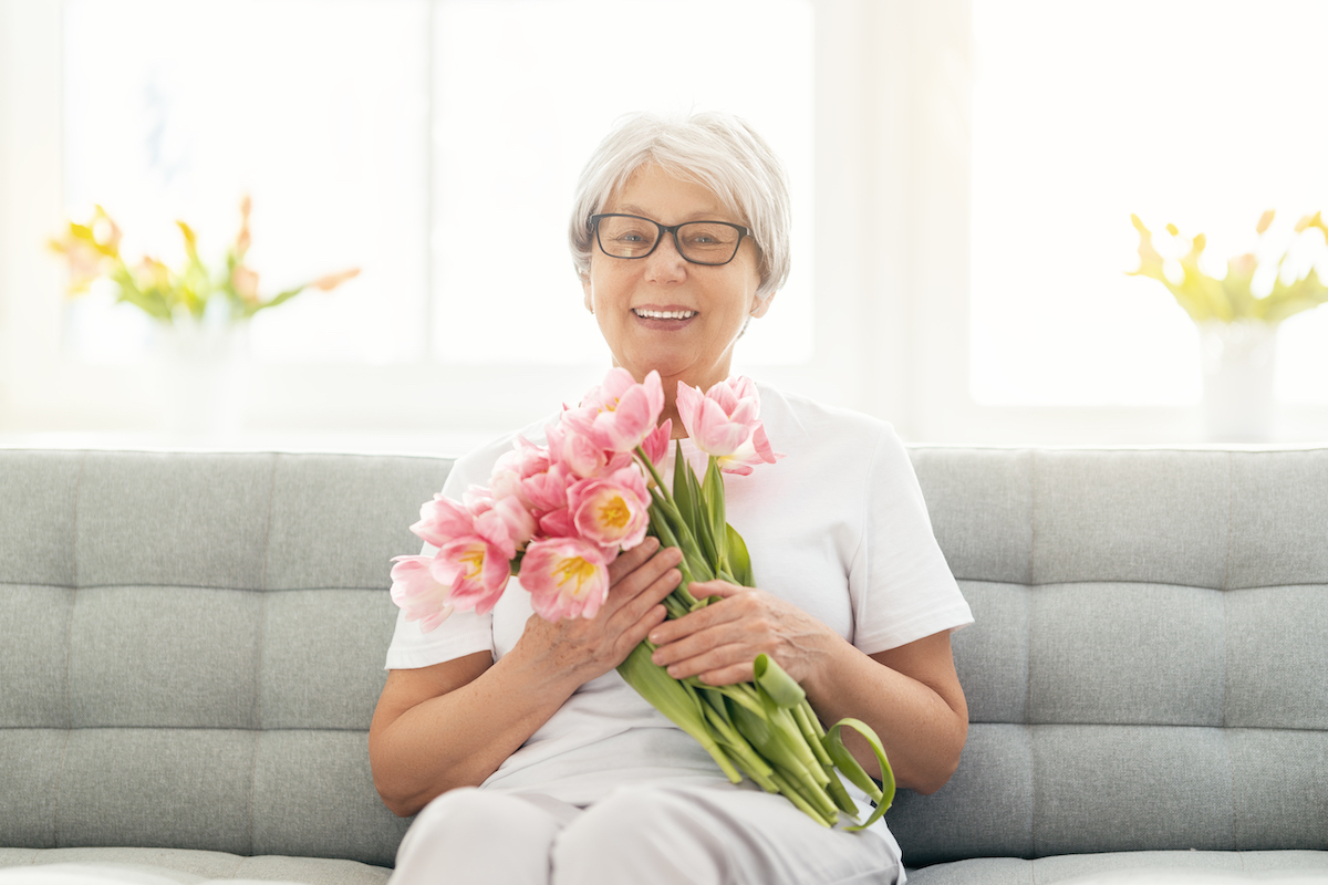 Senior Woman with Bouquet